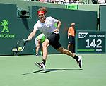 April 1 2018: Alexander Zverev (GER) loses to John Isner (USA) 7-6 (4), 4-6, 4-6, at the Miami Open being played at Crandon Park Tennis Center in Miami, Key Biscayne, Florida. ©Karla Kinne/Tennisclix/CSM