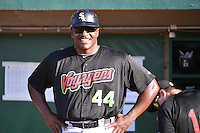 Great Falls Voyagers manager Charles Poe (44) prior to the game against the Ogden Raptors in Pioneer League action at Lindquist Field on July 16, 2014 in Ogden, Utah.  (Stephen Smith/Four Seam Images)