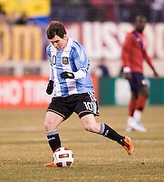 Lionel Messi (10) of Argentina takes a shot during an international friendly at New Meadowlands Stadium in East Rutherford, NJ.  The United States tied Argentina, 1-1.