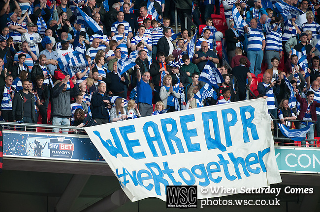 Queens Park Rangers 1 Derby County 0, 24/05/2014. Wembley Stadium, Championship Play Off Final. Queens Park Rangers supporters during the Championship Play-Off Final between Queens Park Rangers and Derby County from Wembley Stadium.  Photo by Simon Gill.