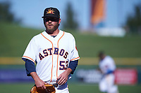 Mesa Solar Sox relief pitcher Brendan McCurry (53), of the Houston Astros organization, walks off the field between innings of an Arizona Fall League game against the Peoria Javelinas on October 25, 2017 at Sloan Park in Mesa, Arizona. The Solar Sox defeated the Javelinas 6-3. (Zachary Lucy/Four Seam Images)