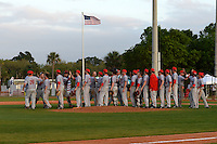 Ball State Cardinals celebrate a victory against the Dartmouth Big Green on March 7, 2015 at North Charlotte Regional Park in Port Charlotte, Florida.  Ball State defeated Dartmouth 7-4.  (Mike Janes/Four Seam Images)