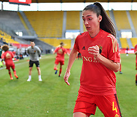 Belgian Amber Tysiak (4) pictured during a friendly female soccer game between the national teams of Germany and  Belgium , called the Red Flames  in a pre - bid tournament called Three Nations One Goal with the national teams from Belgium , The Netherlands and Germany towards a bid for the hosting of the 2027 FIFA Women's World Cup , on Sunday 21 st of February 2021  in Aachen , Germany . PHOTO SPORTPIX.BE   SPP   STIJN AUDOOREN