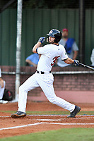 Elizabethton Twins first baseman J.J. Robinson (35) swings at a pitch during game one of the Appalachian League Championship Series against the Pulaski Yankees at Joe O'Brien Field on September 7, 2017 in Elizabethton, Tennessee. The Twins defeated the Yankees 12-1. (Tony Farlow/Four Seam Images)