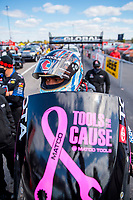 Oct 4, 2020; Madison, Illinois, USA; NHRA top fuel driver Antron Brown during the Midwest Nationals at World Wide Technology Raceway. Mandatory Credit: Mark J. Rebilas-USA TODAY Sports