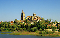 Spain. Salamanca. The new cathedral, c.1560. Seen from across the River Tormes..