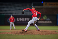 Springfield Cardinals pitcher Hector Mendoza (39) delivers a pitch on May 18, 2019, at Arvest Ballpark in Springdale, Arkansas. (Jason Ivester/Four Seam Images)