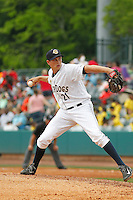 Charleston RiverDogs pitcher Joey Maher (21) on the mound during a game against the Augusta GreenJackets at Joseph P.Riley Jr. Ballpark on April 15, 2015 in Charleston, South Carolina. Charleston defeated Augusta 8-0. (Robert Gurganus/Four Seam Images)