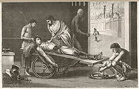 Claudius Galen (Galenus) Greek physician working in Italy treats gladiators wounded in the arena at Pergamo acquiring skill and knowledge in the proce / C Gilbert in Louis Figuier Connais-toi toi-meme page 504 / 2nd century