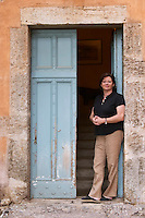 Chantal Lecouty Prieure de St Jean de Bebian. Pezenas region. Languedoc. The villa. A door. In the garden. ex-Owner winemaker. France. Europe.