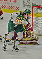 20 February 2016: University of Vermont Catamount Defenseman Dan Senkbeil, a Senior from Fremont, CA, in third period action against the Boston College Eagles at Gutterson Fieldhouse in Burlington, Vermont. The Eagles defeated the Catamounts 4-1 in the second game of their weekend series. Mandatory Credit: Ed Wolfstein Photo *** RAW (NEF) Image File Available ***