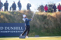 1st October 2021; Kingsbarns Golf Links, Fife, Scotland; European Tour, Alfred Dunhill Links Championship, Second round; Tyrrell Hatton of England  tees off