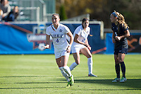 Cary, North Carolina - Sunday December 6, 2015: Ashton Miller (4) of the Duke Blue Devils calls for the ball during first half action against the Penn State Nittany Lions at the 2015 NCAA Women's College Cup at WakeMed Soccer Park.  The Nittany Lions defeated the Blue Devils 1-0.