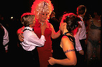 'GAYFEST MANCHESTER, UK', TWO LESBIANS AND A FAT TRANSVESTITE DRESSED IN SHOCKING PINK AT THE LAVENDER BALL, 1999