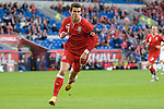 Gareth Bale celebrates his goal for Wales during the Wales v Norway Vauxhall international friendly match at the Cardiff City Stadium in South Wales..Editorial use only.