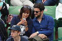 Julie de Bona and boyfriend seen watching tennis during Roland Garros tennis open 2016 on may 28 2016.