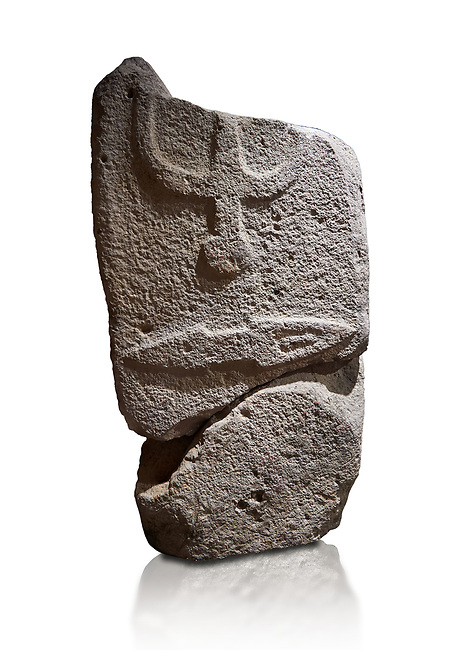 Central fragment of a Late European Neolithic prehistoric Menhir standing stone with carvings on its face side. The representation of a stylalised male figure would have started at the top with the remaons of  a carving of a falling figure with head at the bottom and 2 curved arms encircling a body above. at the bottom is a carving of a dagger running horizontally across the menhir.  Excavated from Piscina 'E Sali VI site,  Laconi. Menhir Museum, Museo della Statuaria Prehistorica in Sardegna, Museum of Prehoistoric Sardinian Statues, Palazzo Aymerich, Laconi, Sardinia, Italy. White background.