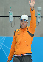 August 04, 2012..Ranomi Kromowidjojo arrives on deck to compete in Women's 50m Freestyle Final at the Aquatics Center on day eight of 2012 Olympic Games in London, United Kingdom.