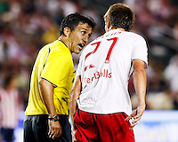 Head referee Mauricio Navarro exchanges words with NY Red Bulls defender, Andrew Boyens(27). Chivas USA  took on the NY Red Bulls on June 28, 2008 at the Home Depot Center in Carson, CA. The game ended in a 1-1 tie.