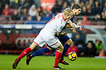 Luis Alberto Suarez Diaz of FC Barcelona (back) fights for the ball with Simon Kjaer of Sevilla FC (front) during the La Liga 2017-18 match between FC Barcelona and Sevilla FC at Camp Nou on November 04 2017 in Barcelona, Spain. Photo by Vicens Gimenez / Power Sport Images