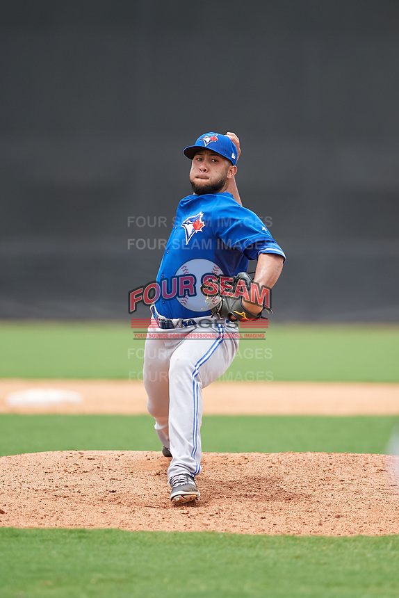GCL Blue Jays relief pitcher Angel Alicea (90) delivers a pitch during the second game of a doubleheader against the GCL Yankees East on July 24, 2017 at the Yankees Minor League Complex in Tampa, Florida.  GCL Yankees East defeated the GCL Blue Jays 6-3.  (Mike Janes/Four Seam Images)