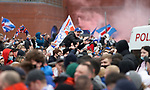 06.03.2021 Pre-match celebrations as fans arrive at Ibrox Stadium