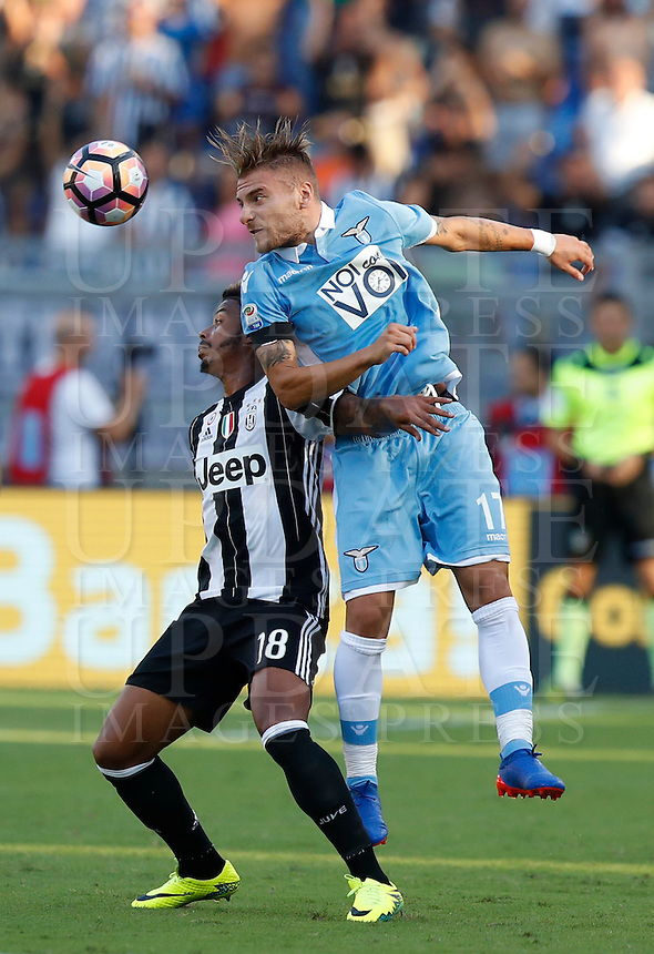 Calcio, Serie A: Lazio vs Juventus. Roma, stadio Olimpico, 27 agosto 2016.<br /> Juventus' Mario Lemina, left, and Lazio's Ciro Immobile fight for the ball during the Serie A soccer match between Lazio and Juventus, at Rome's Olympic stadium, 27 August 2016. Juventus won 1-0.<br /> UPDATE IMAGES PRESS/Isabella Bonotto