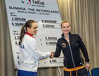 Bratislava, Slovenia, April 21, 2017,  FedCup: Slovakia-Netherlands, Draw ceremony, First match Cepelova-Hogenkamp<br /> Photo: Tennisimages/Henk Koster