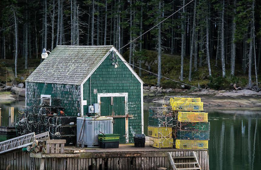 Rustic lobster fishing shack, Deer Island, Maine, USA