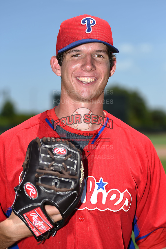 GCL Phillies pitcher Matt Imhof (49) poses for a photo after a game against the GCL Pirates on June 26, 2014 at the Carpenter Complex in Clearwater, Florida.  GCL Phillies defeated the GCL Pirates 6-2.  (Mike Janes/Four Seam Images)
