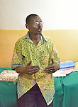 Noeh Kabundi, a supervisor of community health workers at Rwamagana  District Hospital.  During the photo session, he monitored a health worker giving a three month birth control inoculation to a mother..(see related photos)....