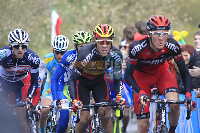 Belgian National Champion Philippe Gilbert (BEL) and Tejay Van Garderen (USA) BMC Racing Team with Jelle Vanendert (BEL) Lotto-Belisol Team lead the peloton up the Cote de la Redoute during the 98th edition of Liege-Bastogne-Liege, running 257.5km from Liege to Ans, Belgium. 22nd April 2012.  <br /> (Photo by Eoin Clarke/NEWSFILE).