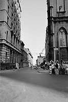MONTREAL, CANADA - File Photo -  St-Sulpice street and Notre-Dame, Old-Montreal <br /> <br /> in August 1973 .<br /> <br /> File Photo : Agence Quebec Presse - Alain Renaud
