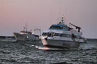 - island of Pantelleria, fishing boat returns in port, hydrofoil for the connection with the Sicily ....- isola di Pantelleria, peschereccio rientra in porto, aliscafo per il collegamento con la Sicilia