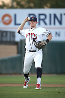 Trent Woodward (36) of the Lancaster JetHawks makes a throw during a game against the Lake Elsinore Storm at The Hanger on August 2, 2016 in Lancaster, California. Lake Elsinore defeated Lancaster, 10-9. (Larry Goren/Four Seam Images)
