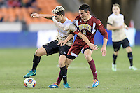 Houston, TX - Friday December 9, 2016: Ian Harkes (16) of the Wake Forest Demon Deacons and Sam Hamilton (8) of the Denver Pioneers battle for the ball at the NCAA Men's Soccer Semifinals at BBVA Compass Stadium in Houston Texas.