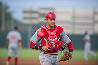 AZL Reds catcher Victor Ruiz (43) on defense against the AZL Athletics on July 16, 2017 at Lew Wolff Training Complex in Mesa, Arizona. AZL Athletics defeated the AZL Reds 13-5. (Zachary Lucy/Four Seam Images)