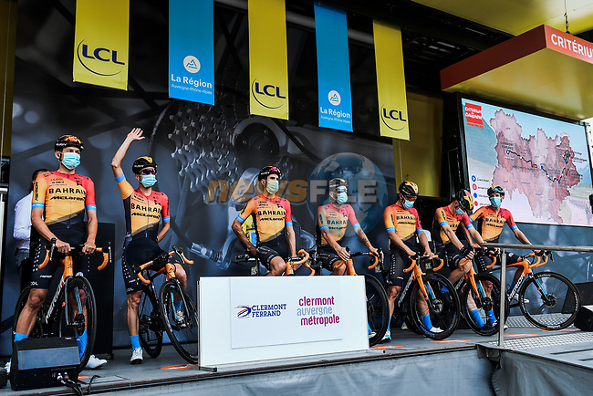 Bahrain-McLaren at the Team Presentation before the start of Stage 1 of Criterium du Dauphine 2020, running 218.5km from Clermont-Ferrand to Saint-Christo-en-Jarez, France. 12th August 2020.<br /> Picture: ASO/Alex Broadway | Cyclefile<br /> All photos usage must carry mandatory copyright credit (© Cyclefile | ASO/Alex Broadway)