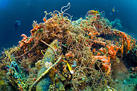 Garbage and man-made debris, fishing line and litter scattered along the bottom of Palm Beach County, Florida, USA, Atlantic Ocean reefs and intracoastal waterways.