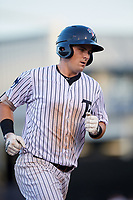 Tampa Yankees first baseman Tim Lynch (25) rounding the bases after hitting a home run in the bottom of the fourth inning during a game against the Palm Beach Cardinals on July 25, 2017 at George M. Steinbrenner Field in Tampa, Florida.  Tampa defeated Palm beach 7-6.  (Mike Janes/Four Seam Images)