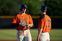 AZL Giants Orange Connor Cannon (13) and coach Bill Horton (33) during a game against the AZL Angels at Giants Baseball Complex on June 17, 2019 in Scottsdale, Arizona. AZL Giants Orange defeated AZL Angels 8-4. (Zachary Lucy/Four Seam Images)