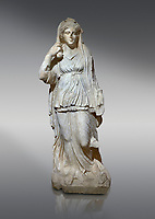 Roman statue of Selene. Marble. Perge. 2nd century AD. Inv no 2014/201. Antalya Archaeology Museum; Turkey. <br /> <br /> Selene is the goddess of the moon. She is the daughter of the Titans Hyperion and Theia; and sister of the sun-god Helios; and Eos; goddess of the dawn. She drives her moon chariot across the heavens.