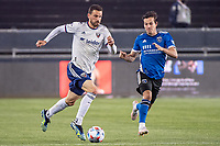 SAN JOSE, CA - MAY 01: Brendan Hines-Ike #4 of DC United dribbles past Carlos Fierro #7 of the San Jose Earthquakes during a game between San Jose Earthquakes and D.C. United at PayPal Park on May 01, 2021 in San Jose, California.