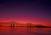 Mississippi River, bridge, Natchez, MS, Mississippi, Scenic view of a bridge spanning the Mississippi River at sunset in Natchez.