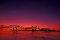 Mississippi River, bridge, Natchez, MS, Mississippi, Scenic view of a bridge spanning the Mississippi River at sunset in Natchez.