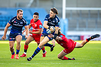 9th September 2020; AJ Bell Stadium, Salford, Lancashire, England; English Premiership Rugby, Sale Sharks versus Sracens; Sam James of Sale Sharks is tackled