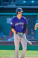 Sam Hilliard (14) of the Albuquerque Isotopes bats against the Salt Lake Bees at Smith's Ballpark on April 27, 2019 in Salt Lake City, Utah. The Isotopes defeated the Bees 10-7. This was a makeup game from April 26, 2019 that was cancelled due to rain. (Stephen Smith/Four Seam Images)