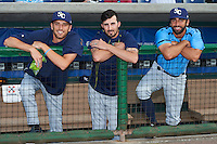 Charlotte Stone Crabs Greg Harris (27), Hunter Wood (3) and Benton Moss (40) before a game against the Clearwater Threshers on April 12, 2016 at Bright House Field in Clearwater, Florida.  Charlotte defeated Clearwater 2-1.  (Mike Janes/Four Seam Images)