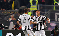 Calcio, Serie A: Lazio vs Juventus. Roma, stadio Olimpico, 4 dicembre 2015.<br /> Juventus' Paulo Dybala, right, celebrates with teammate Andrea Barzagli after scoring during the Italian Serie A football match between Lazio and Juventus at Rome's Olympic stadium, 4 December 2015.<br /> UPDATE IMAGES PRESS/Riccardo De Luca