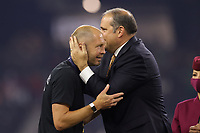LAS VEGAS, NV - AUGUST 1: United States head coach Gregg Berhalter is greeted by President of CONCACAF Victor Montagliani after a game between Mexico and USMNT at Allegiant Stadium on August 1, 2021 in Las Vegas, Nevada.